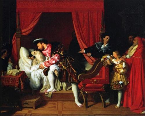 アングル《ダ・ヴィンチの死を悼むフランソワ1世》